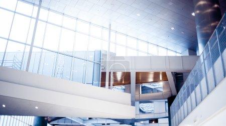 Elements of modern architecture, big shopping centre, communications and construcitve elements, futuristic design