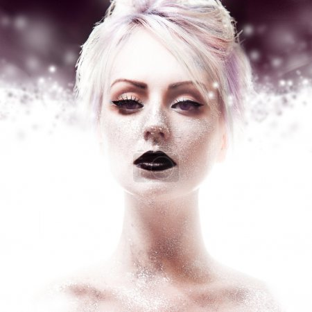 Photo for Snow Queen, creative closeup  portrait of a girl with black lips - Royalty Free Image
