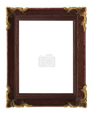 Photo pour Cadre d'image vertical sculpté vide à fond blanc - image libre de droit