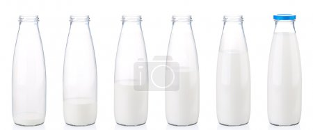 Bottle of milk isolated on white background...