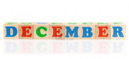 Photo for Word december formed by wood alphabet blocks, isolated on white background - Royalty Free Image