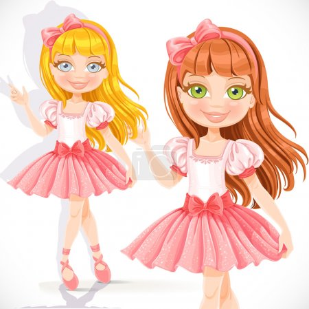Illustration pour Mignonne petite fille ballerine en robe rose isolé sur fond blanc - image libre de droit