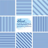 Set of blue seamless geometric striped patterns on white