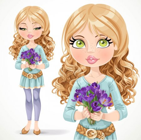 Illustration for Beautiful blond girl holding a bouquet of crocuses isolated on  white background - Royalty Free Image