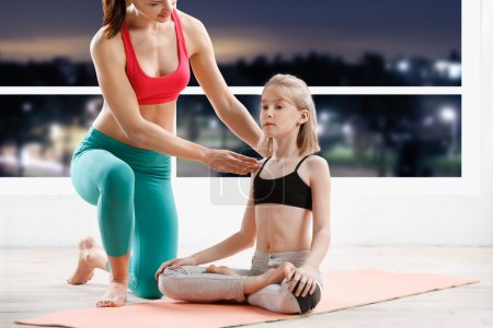 Fitness, sport, yoga  - 10 years old  girl stretch...