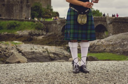Photo for Bagpipers legs at traditional dress in Edinburgh, Scotland - Royalty Free Image