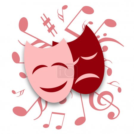 Photo for Theatrical masks and musical symbols on a white background - Royalty Free Image