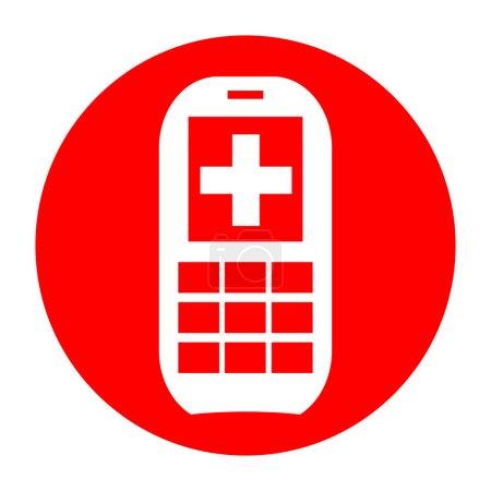 Photo pour Docteur sur appel, téléphone de premiers soins avec la croix médicale d'isolement sur le fond blanc - image libre de droit