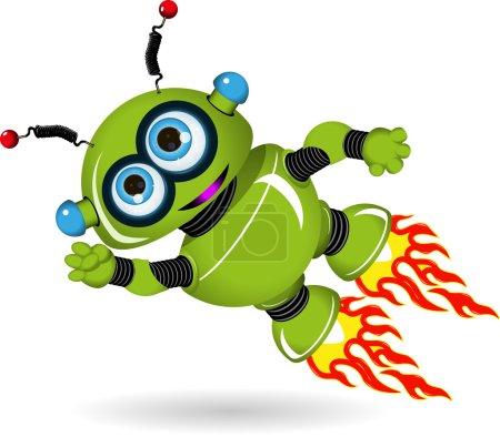 Illustration pour Illustration d'un robot de dessin animé vert volant - image libre de droit