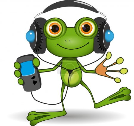 Illustration for Illustration of a cartoon frog in headphones - Royalty Free Image