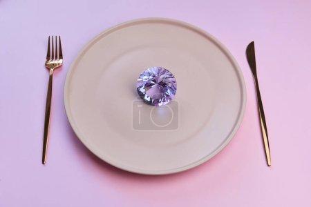 Romantic luxury gift. Large pink diamond stone on ...
