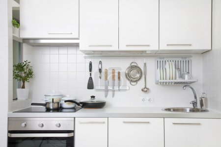 Photo for Modern kitchen at home with utensils - Royalty Free Image