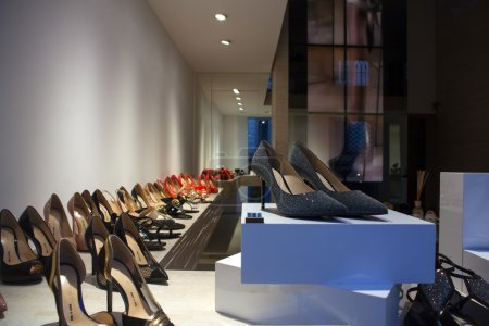 View of Italian heeled shoes