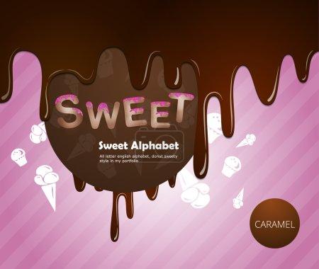Photo pour Alphabet sucré au chocolat et crème au caramel - image libre de droit