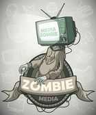 Media zombie with a tv instead of a head Label