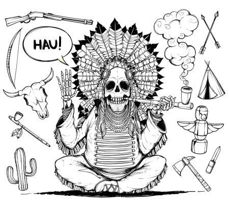 Illustration pour Les Indiens squelette chef assis fumant une pipe. Il lève la main pour saluer - image libre de droit