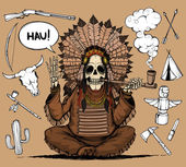 Skeleton Indians chieftain. And set objects related to Indians