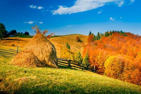 Autumn landscape in a mountain village