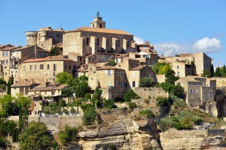 Photo pour Beau village médiéval de Gordes en soirée, Provence, France - image libre de droit