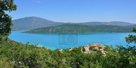 Photo for Beautiful Medieval Village Sainte Croix du Verdon on the lake shore, Provence, France - Royalty Free Image