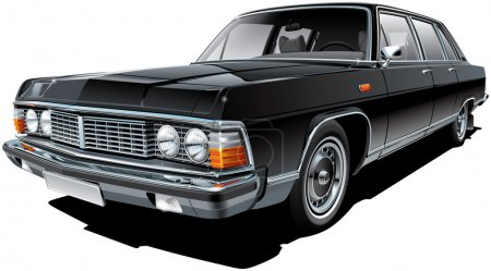Illustration pour Image vectorielle de haute qualité de limousine soviétique vintage, isolée sur fond blanc. Le fichier contient des dégradés, des mélanges et de la transparence. Pas de coups. Modifier facilement : le fichier est divisé en couches et groupes logiques. NOTE : la palette contient du noir progressif . - image libre de droit
