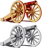 Vector image of typical field gun of times of American Civil War isolated on white background Executed in two color variant No strokes gradients blends and transparency Easily edit: file is divided into logical layers and groups