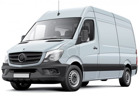 Illustration for High quality vector image of European delivery van, isolated on white background. File contains gradients, blends and transparency. No strokes. Easily edit: file is divided into logical layers and groups. - Royalty Free Image
