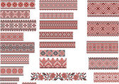 Set of Ukrainian ethnic patterns for embroidery stitch in red and black