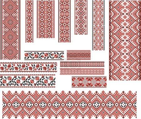 Illustration pour Ensemble de motifs ethniques ukrainiens pour broderie en rouge et noir. Modifiable . - image libre de droit