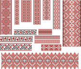 Set of Ukrainian ethnic patterns for embroidery stitch in red and black Editable