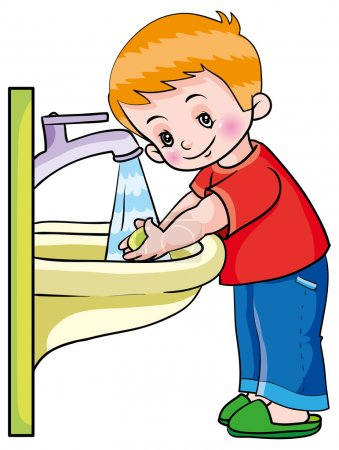 Hygiene. boy washing hands