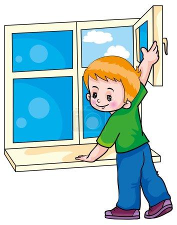 Illustration pour Garçon faisant fenêtre d'ouverture de ventilation - image libre de droit