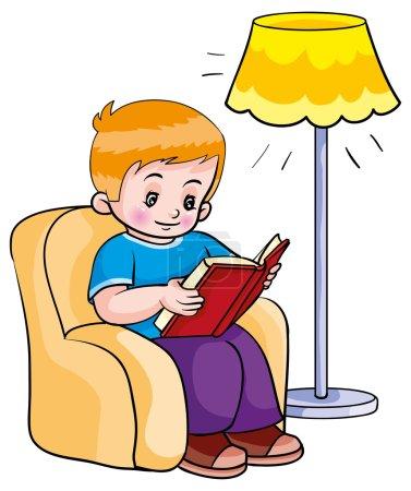 Illustration pour Un garçon lisant un livre. Illustration vectorielle - image libre de droit