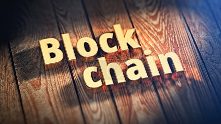 Words Block chain on wood planks