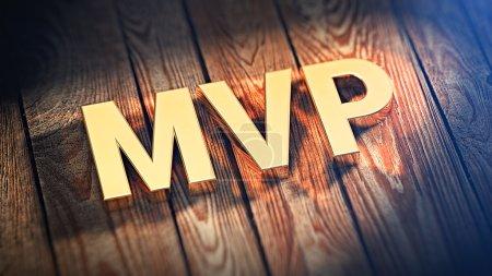 """Foto de El acrónimo """"Mvp"""" está forrado con letras de oro en planchas de madera. imagen de Ilustración 3D - Imagen libre de derechos"""