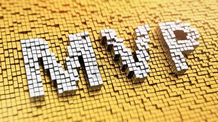 Foto de Pixelado siglas Mvp hecho de cubos, patrón de mosaico - Imagen libre de derechos