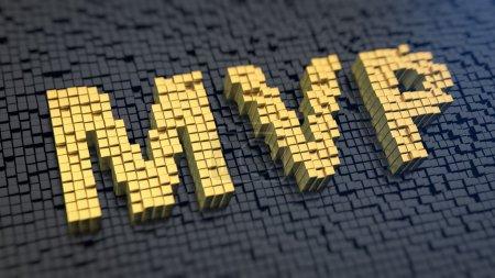 Foto de Acronym 'MVP' of the yellow square pixels on a black matrix background. Product theory for startups - Imagen libre de derechos