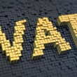 Acronym 'VAT' of the yellow square pixels on a bla...