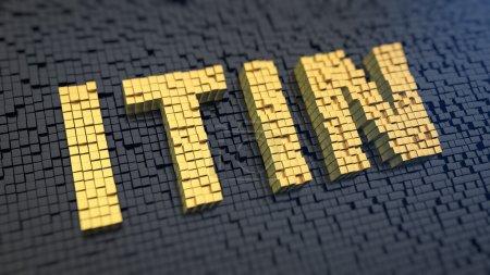 Photo pour Acronyme 'ITIN' des pixels carrés jaunes sur fond de matrice noire. Numéro de contribuable américain - image libre de droit