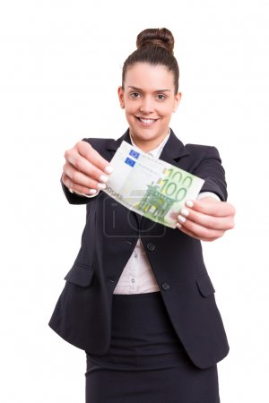 Successful businesswoman showing some banknotes