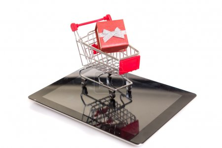 Shopping cart over a tablet computer