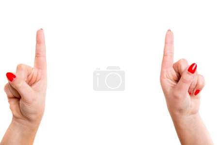 Photo for Cropped view of two hands pointing their index fingers upwards - Royalty Free Image