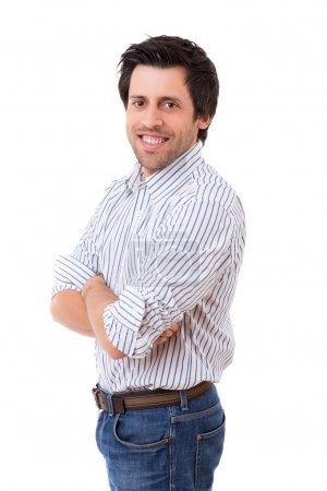 Photo for Studio picture of a casual man posing isolated - Royalty Free Image