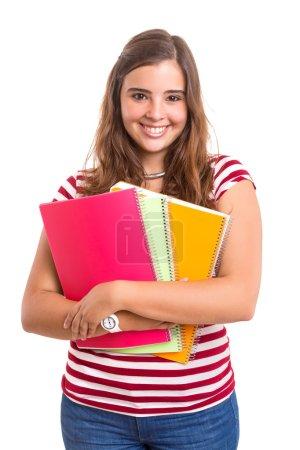 Photo pour Retourne à l'école ! Jeune étudiante femme avec des livres posant sur fond blanc - image libre de droit