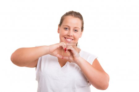 Large Woman gesturing heart sign