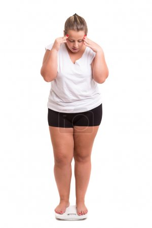 Photo for Fat woman very worried with her weight - Royalty Free Image