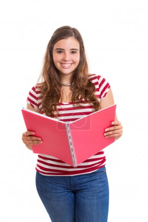 Young student girl with open notebook