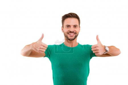 young man gesturing Thumbs up sign