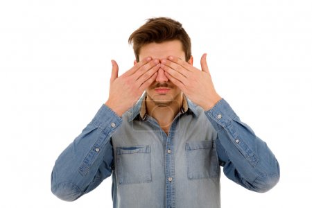 Photo for Man covering his face, isolated on white background - Royalty Free Image