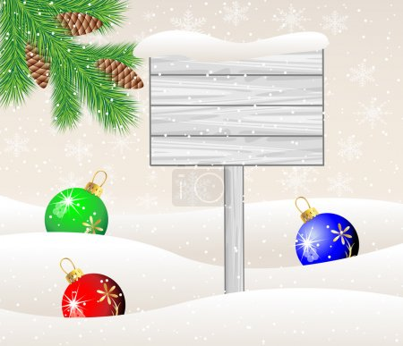 wooden banner, green branches with cones and christmas toys ball